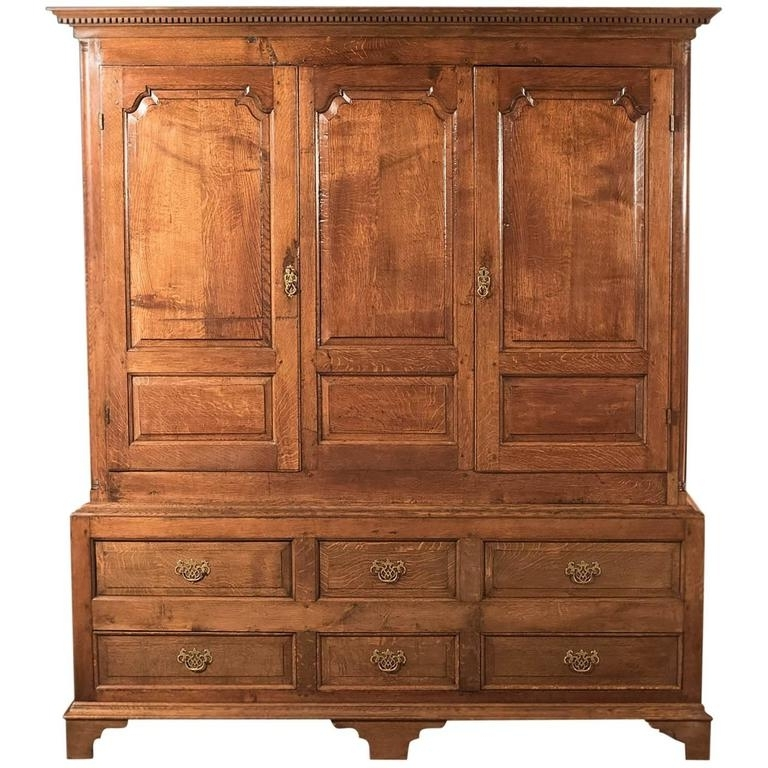 Large Antique Wardrobes In Best And Newest Fine Large Georgian Antique Wardrobe Linen Press Cabinet English (View 8 of 15)