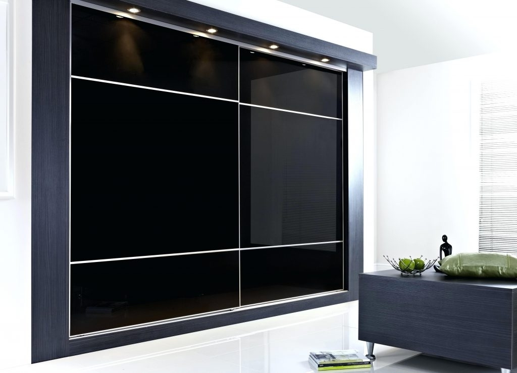 Large Black Wardrobes For Well Known Closet ~ Mirrored Wardrobe Closet Furniture Large Black Glass (View 3 of 15)