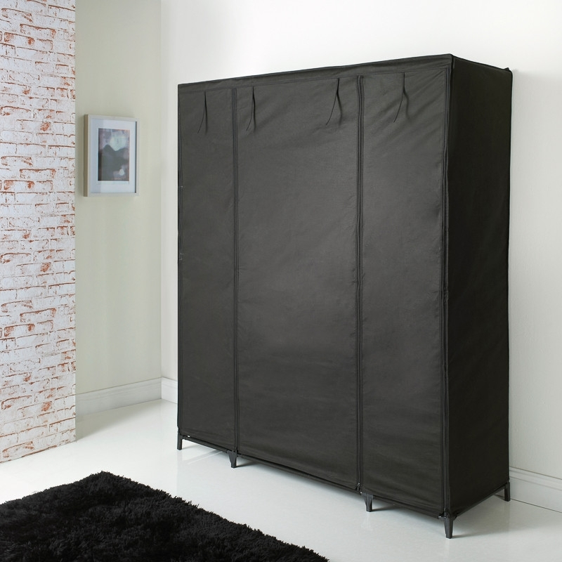 Large Black Wardrobes Within 2018 Deluxe Large Canvas Wardrobe (View 4 of 15)