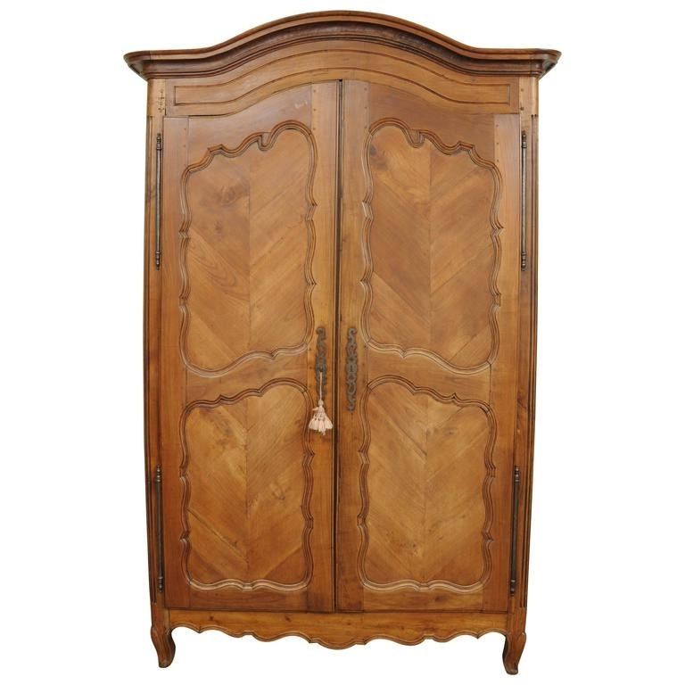 Large Country French Louis Xv Style Wardrobe Cabinet Walnut Bonnet Intended For Recent French Style Armoires Wardrobes (View 9 of 15)