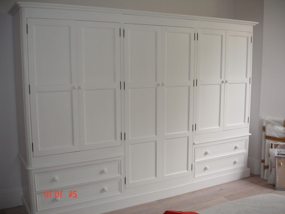 Large Shabby Chic Wardrobes Within Most Up To Date White Painted Large 6 Door Solid Pine Victorian Style Shabby Chic (View 10 of 15)