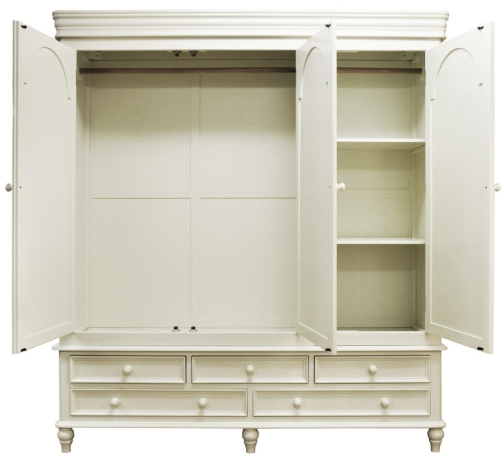 Large White Wardrobes With Drawers Throughout Most Recent Classic Mirrored White Painted Wooden Wardrobe With Black Knob (View 12 of 15)