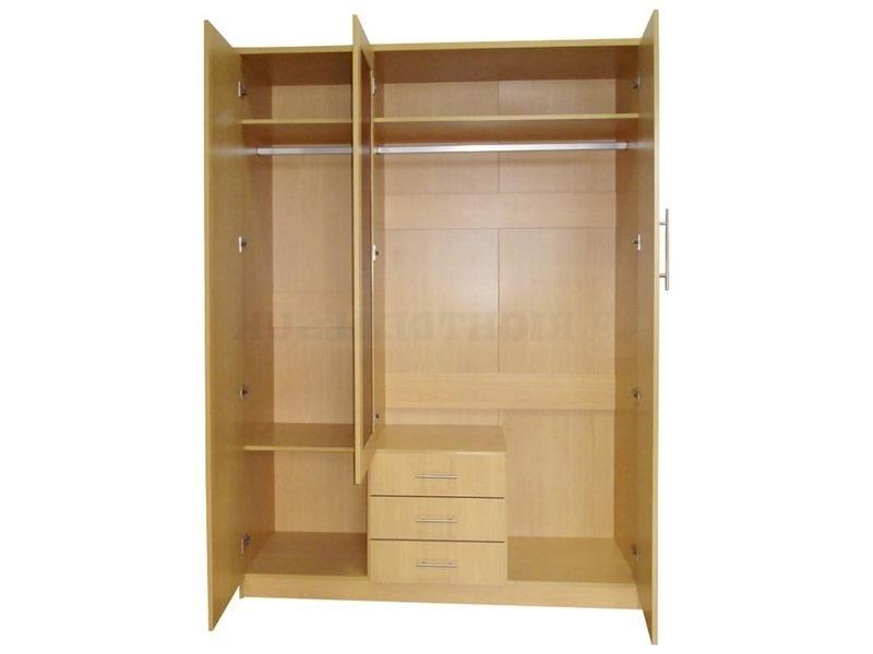 Las Vegas 3 Door 3 Drawer Mirrored Wardrobe – Beech Bedroom Furniture For Most Recently Released 3 Door Mirrored Wardrobes (View 9 of 15)