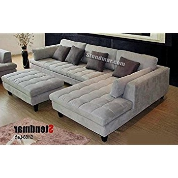 Latest Amazon: 3Pc Contemporary Grey Microfiber Sectional Sofa Chaise For Grey Sofas With Chaise (View 13 of 15)