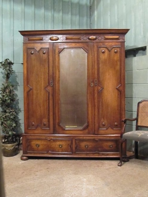 Latest Antique Edwardian Small Oak Triple Wardrobe C (View 10 of 15)