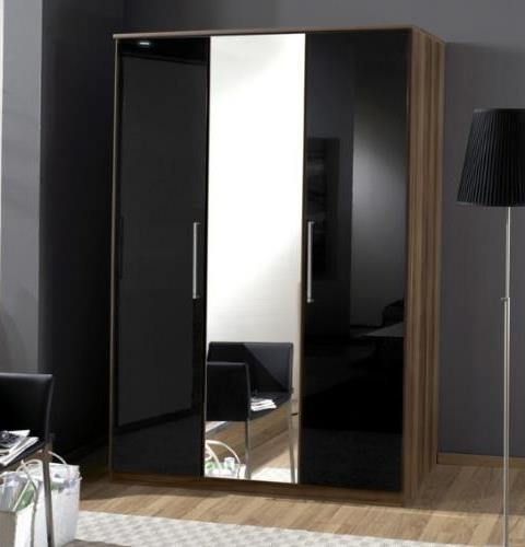 Latest Black 3 Door Wardrobes With Regard To Milano Black Gloss And Walnut 3 Door Wardrobe – Amos Mann Furniture (View 8 of 15)