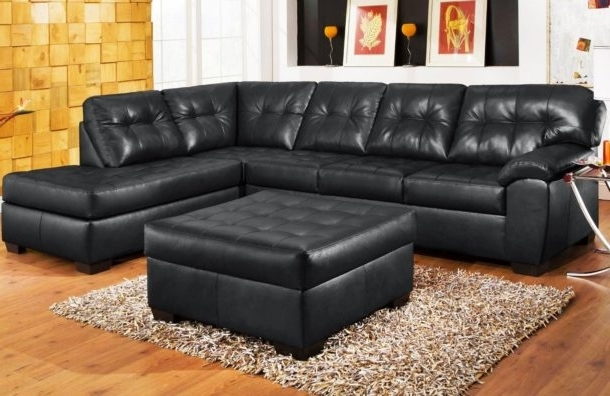 Latest Black Leather Sectionals With Chaise Regarding Furniture: Black Leather Sectional Sofa With Chaise On Wooden (View 10 of 15)