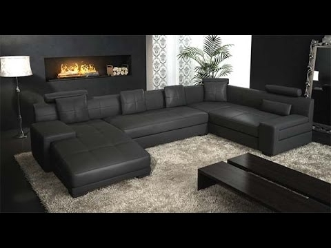 Latest Black Sectional Sofas Pertaining To Black Leather Sectional Couch – Youtube (View 3 of 10)