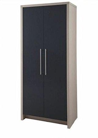 Latest Camden Wardrobes Regarding Hygena Camden 2 Door Wardrobe – Oak And Graphite Gloss: Amazon (View 9 of 15)