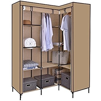 Latest Canvas Wardrobe, Funime Corner Wardrobe L Shaped Canvas Wardrobe In Double Canvas Wardrobes Rail Clothes Storage Cupboard (View 7 of 15)