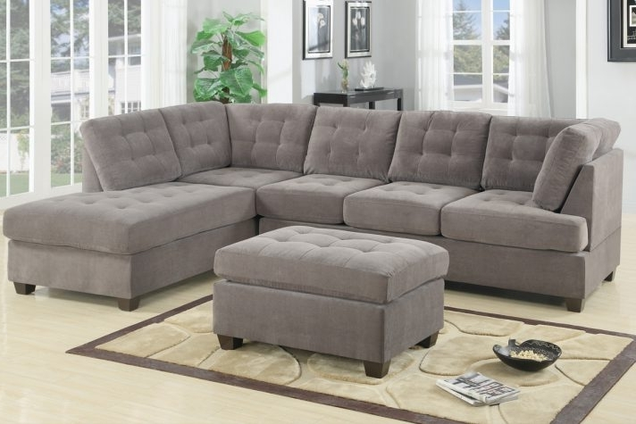 Latest Contemporary Living Room Area Microfiber Chaise Small Spaces Within Grey Chaise Sectionals (View 6 of 15)