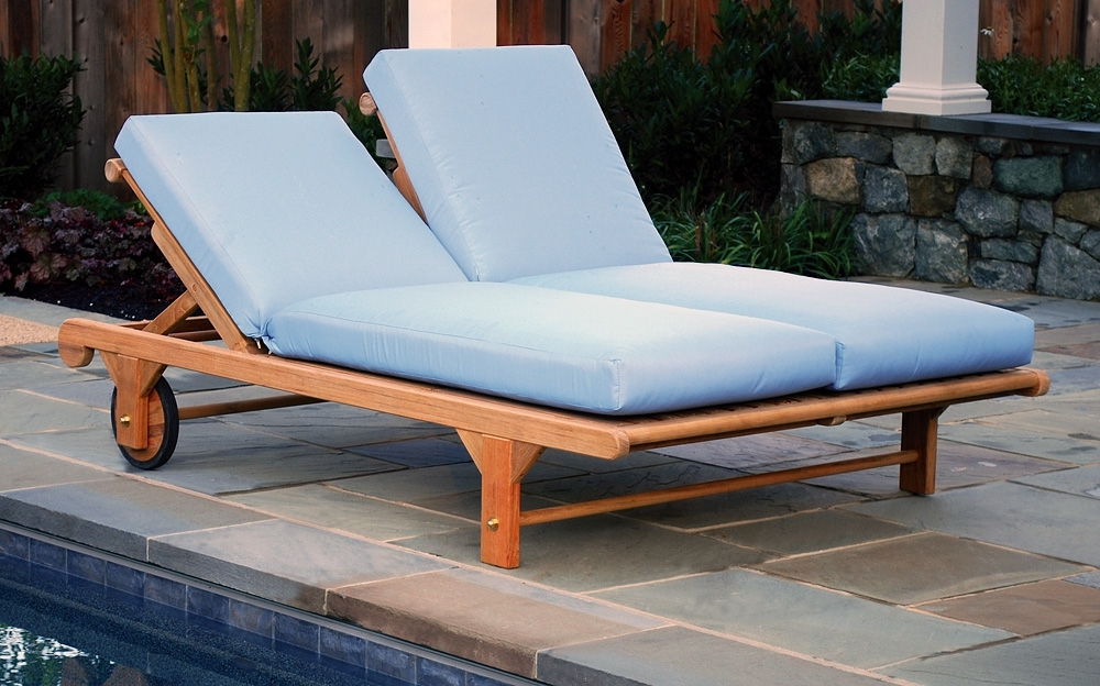 Latest Double Chaise Lounge Chairs Outdoor — Bed And Shower : How To Intended For Blue Outdoor Chaise Lounge Chairs (View 10 of 15)