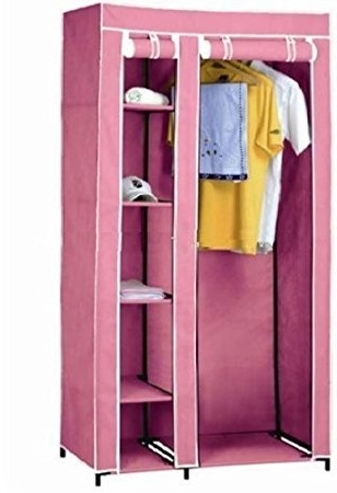 Latest Double Rail Wardrobes Argos Pertaining To New Pink Double Canvas Wardrobe – Clothes Hanging Rail Cupboard (View 2 of 15)