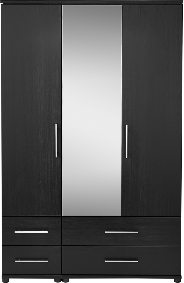 Latest Mirror Design Ideas: Furniture Home Three Door Wardrobe With With Regard To Black Wardrobes With Drawers (View 9 of 15)