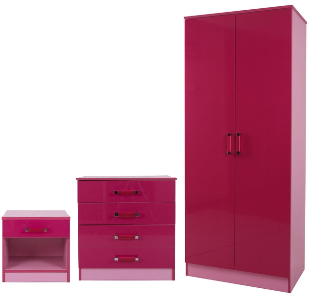 Latest Pink High Gloss Wardrobes Regarding Ottawa Gloss Wardrobe Set – Light Pink Pink (View 5 of 15)