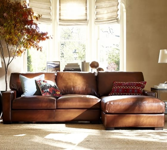 Latest Quick Ship Turner Square Arm Leather Sofa With Chaise Sectional Within Leather Chaise Sofas (View 5 of 15)