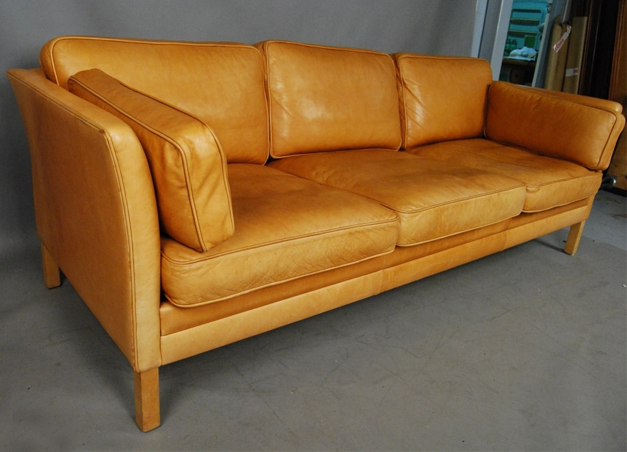 Latest Sold Mogens Hansen Light Tan Leather Sofa 34D114 – Danish Vintage Inside Light Tan Leather Sofas (View 3 of 10)
