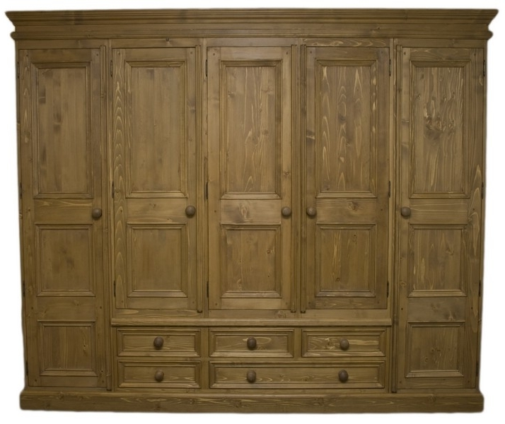 Latest Solid Wood Interiors > Solid Pine Wardrobe 5 Doors And 5 Drawers Intended For Pine Wardrobes With Drawers (View 9 of 15)