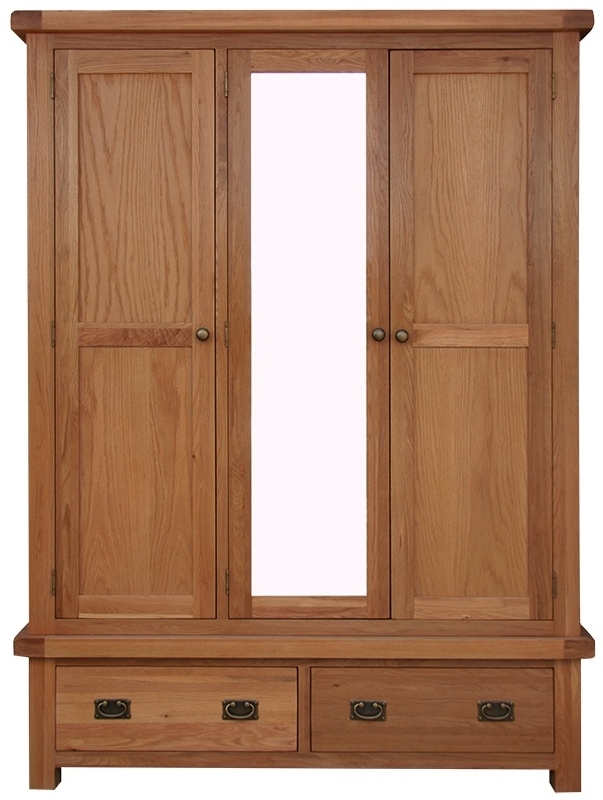 Latest Wardrobes With Mirror And Drawers Intended For Wardrobes : Oldbury Triple Rustic Oak Wardrobe With Mirror And (View 6 of 15)
