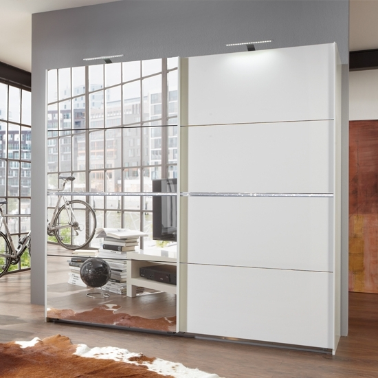 Latest White Gloss Mirrored Wardrobes For Swiss White Sliding Wardrobe With Mirrors And Crystal Rhinstones (View 4 of 15)