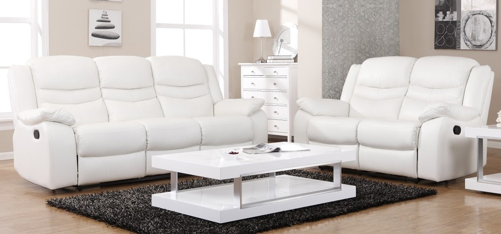 Latest White Leather Sofas With Blossom White Electric Reclining 3 + 2 Seater Leather Sofa Set (View 2 of 10)