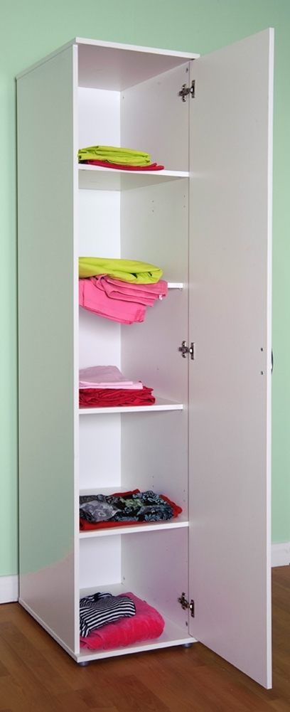 Latest White Single Door Wardrobes Regarding Chester 1 Door Wardrobe Shelves And Or Hanging Rail – M0940 Beech (View 7 of 15)