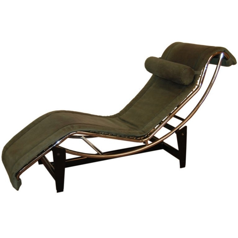 Le Corbusier Lc4 Green Leather Chaise Longue At 1Stdibs Pertaining To Recent Le Corbusier Chaises (View 10 of 15)