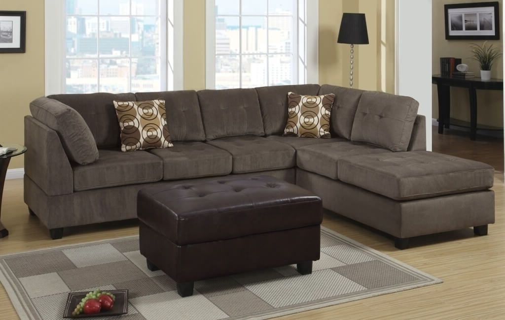 Leather And Suede Sectional Sofas With Regard To Most Recent Furniture: Best Microfiber Cheap Sectional Couch With Tufted (View 6 of 10)