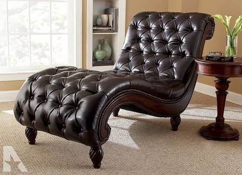 Leather Chaise Lounge With Tufted Buttons For Sale In Sterling Within Trendy Leather Chaise Lounges (View 3 of 15)