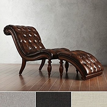 Leather Chaise Lounges Inside Most Current Amazon: Brown Leather Chaise Lounge Chair With Ottoman (View 5 of 15)