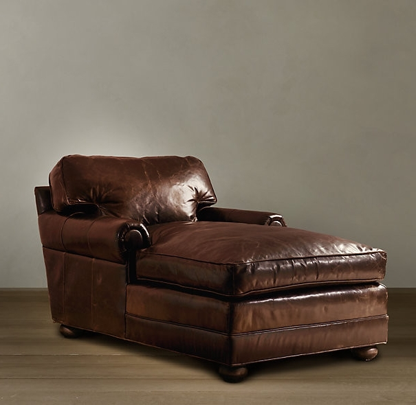 Leather Chaise Lounges Pertaining To Current Brown Leather Chaise Lounge Large — Umpquavalleyquilters : How (View 7 of 15)