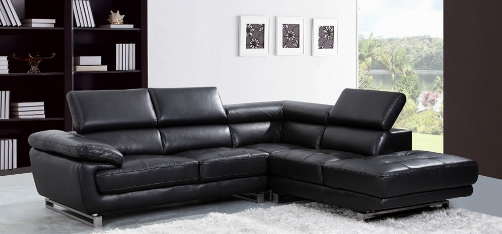 Leather Corner Sofas Within 2018 Valencia Corner Midnight Black H8582Lhf – Leather Corner Sofas – Sofas (View 8 of 10)