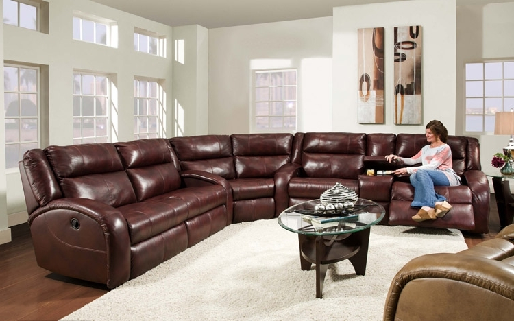 Leather Recliner Sectional Sofas In Most Current Awesome Leather Recliner Sectional Sofa American Made Merritt Lay (View 6 of 10)