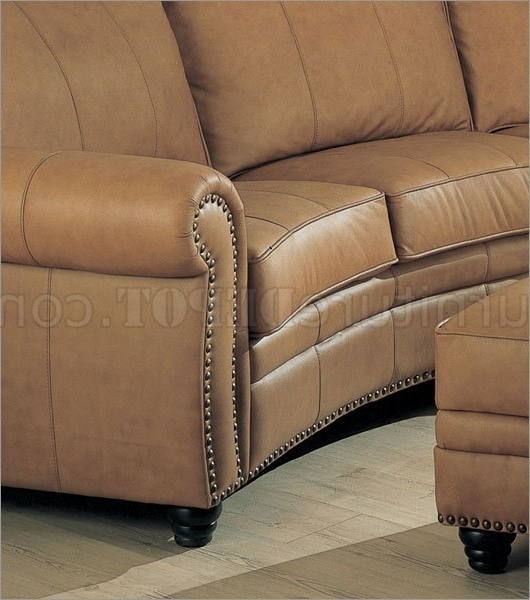 Leather Sectional Sofa & Ottoman Set W/nail Head Design With Recent Camel Colored Sectional Sofas (View 7 of 10)