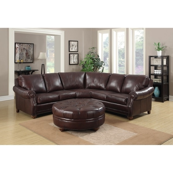 Leather Sectional Sofas With Ottoman Within Preferred Troy Chestnut Brown Italian Leather Sectional Sofa And Ottoman (View 6 of 10)