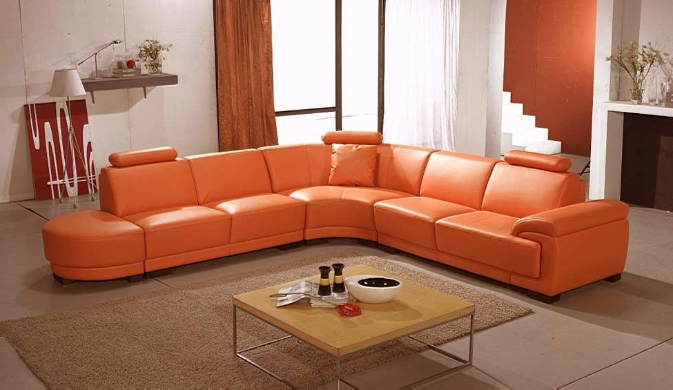 Leather Sectionals Inside Best And Newest Orange Sectional Sofas (View 4 of 10)
