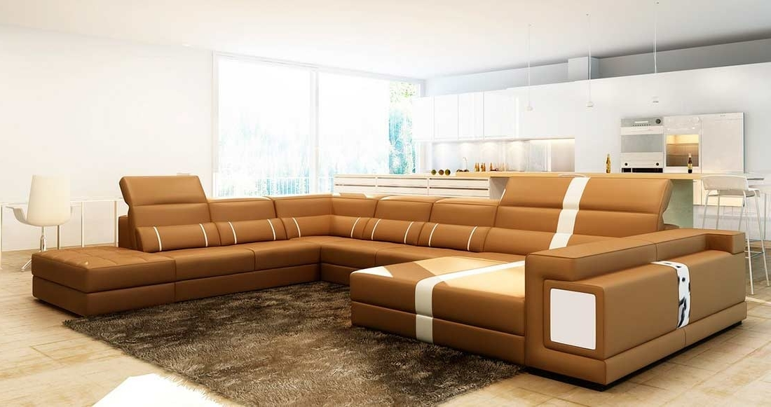 Leather Sectionals Throughout Camel Sectional Sofas (View 7 of 10)