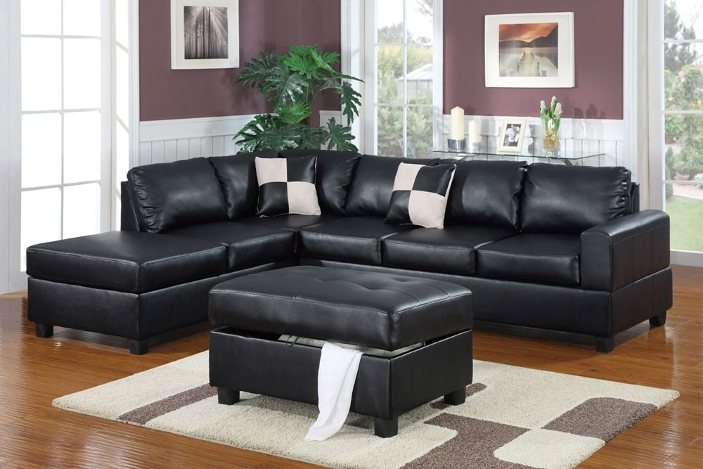 Leather Sectionals With Ottoman Throughout 2017 Black Leather Sectional With Ottoman (View 6 of 10)