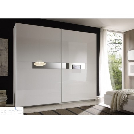 Lidia White High Gloss Wardrobe With Sliding Doors – Wardrobes Intended For Most Popular High Gloss Wardrobes (View 9 of 15)