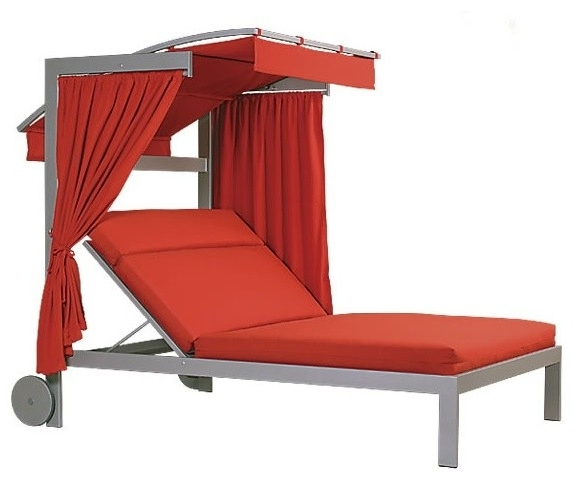 Linear Double Chaise Lounge With Wheels And Canopy Contemporary For Most Popular Outdoor Chaise Lounge Chairs With Canopy (View 3 of 15)