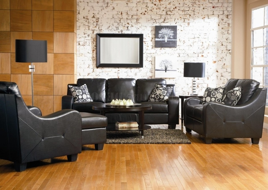 Living Room Modern Living Room Decoration With Black Leather Sofa With Popular The Brick Leather Sofas (View 2 of 10)