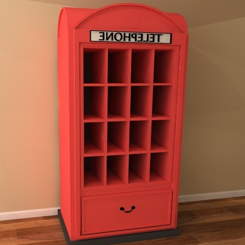 London Telephone Box Bookcase/ Shelving Unit – Children's Furniture Uk Throughout 2017 Telephone Box Wardrobes (View 6 of 15)