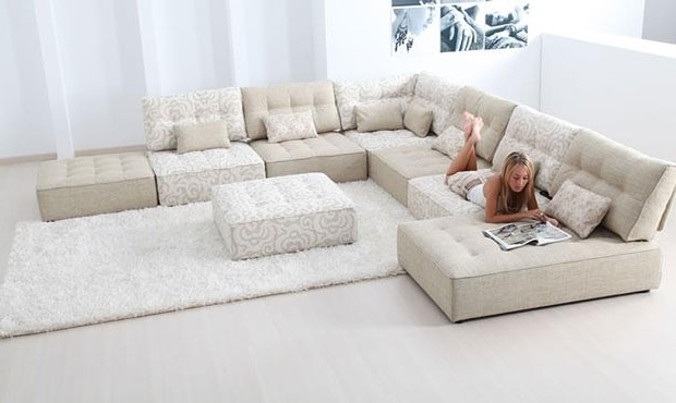 Long Chaise Sofas With Regard To Most Popular Alice Modular Fabric Sofa Cream Extra Large Corner Sofa With (View 5 of 10)