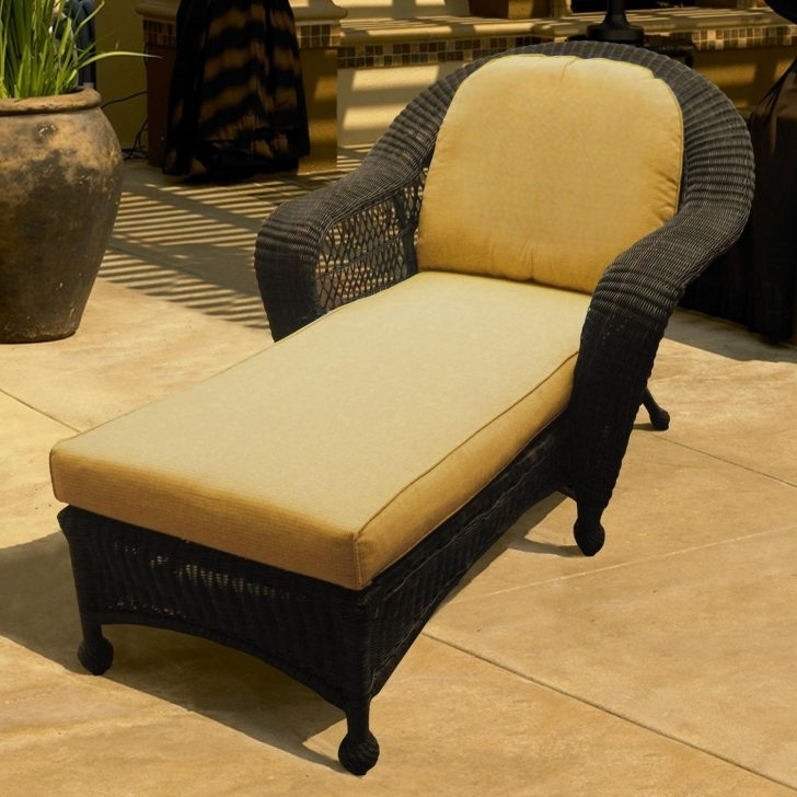 Lounge Chair : Chaise Lounge With Cushions Wicker Armchair Outdoor Inside Most Popular Outdoor Wicker Chaise Lounges (View 6 of 15)