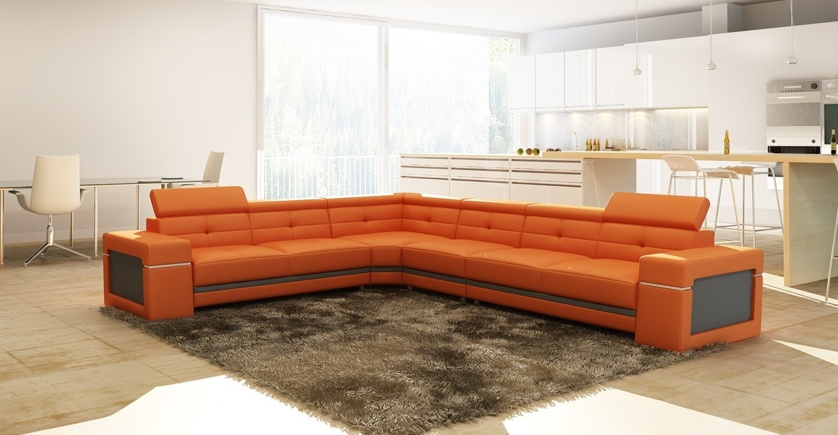 Lovely Orange Sectional Sofa With Casa 5072 Modern Orange And Grey For Newest Orange Sectional Sofas (View 5 of 10)