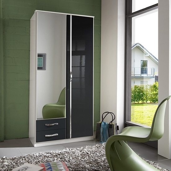 Luton Mirror Wardrobe In Gloss Black Alpine White With 2 Intended For Fashionable Black Gloss Mirror Wardrobes (View 7 of 15)