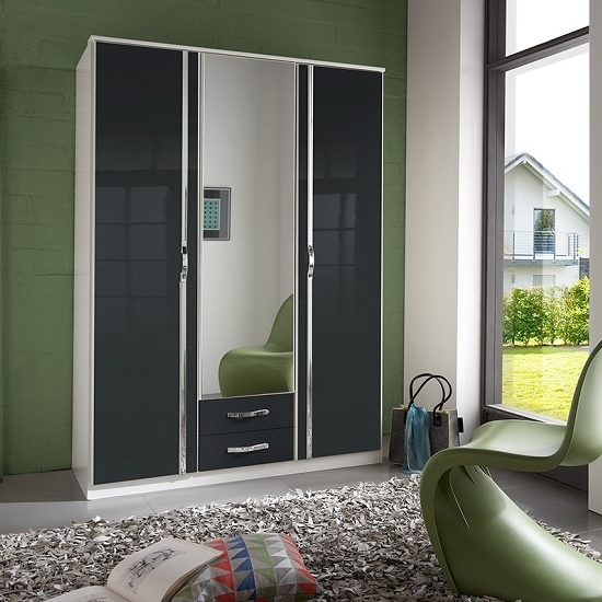 Luton Mirror Wardrobe In Gloss Black Alpine White With 3 For 2018 Black Gloss Mirror Wardrobes (View 8 of 15)