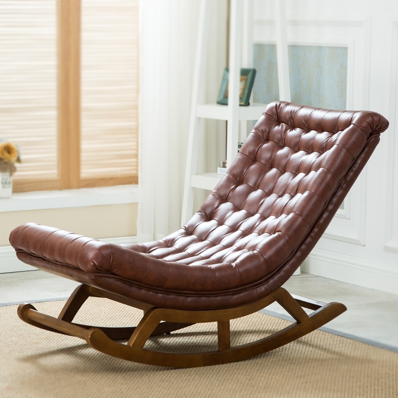 Luxury Outdoor Chaise Lounge Chairs Regarding Widely Used Modern Design Rocking Lounge Chair Leather And Wood For Home (View 7 of 15)