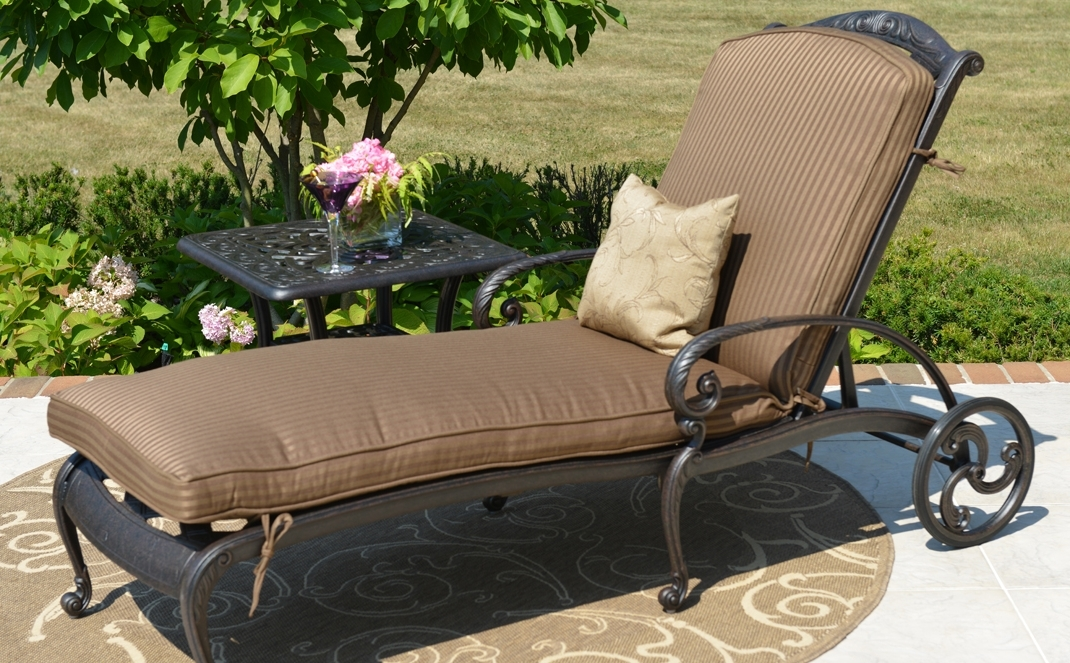 Luxury Outdoor Chaise Lounge Chairs Within 2017 Amalia Luxury Cast Aluminum Patio Furniture Chaise Lounge (View 8 of 15)