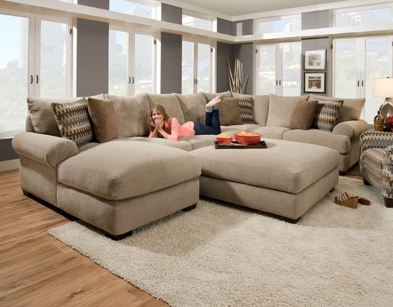 Massive Sectional Featuring An Extra Deep Seat With Crowned For Popular Wide Seat Sectional Sofas (View 2 of 10)